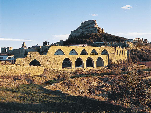 Vista panorámica acueducto y castillo, Morella